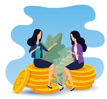 businesswomen sitting in the coins with elegant clothes to strategy plan, vector illustration Ilustracja