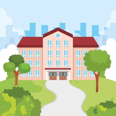 education school with windows and door deaign around the trees and bushes plants vector illustration Ilustracja