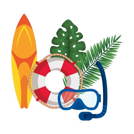 surf board sport with float lifeguard and snorkel vector illustration design