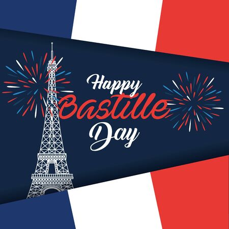 eiffel tower with france flag and fireworks decoration to bastille celebration vector illustration Foto de archivo - 129825264
