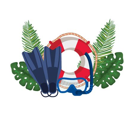float lifeguard with leafs palm and diving equipment vector illustration design Çizim