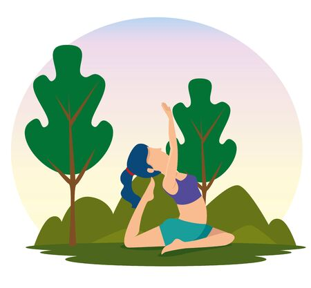 woman practice yoga with trees and mountains vector illustration
