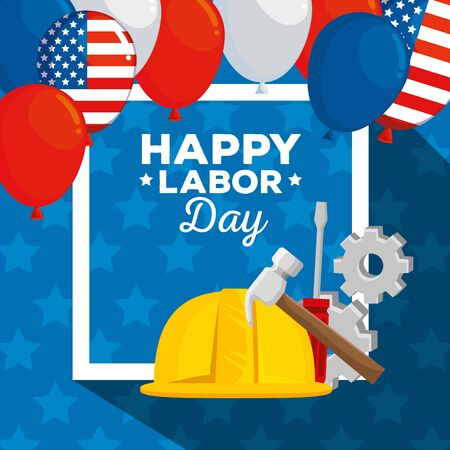 poster of usa balloons decoration and helmet with gears to labor day, vector illustration Illusztráció