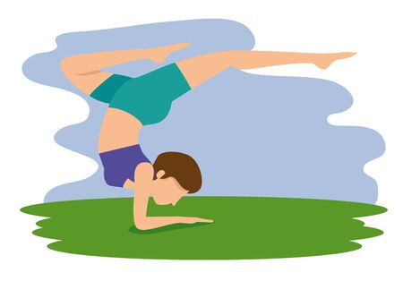 woman doing yoga exercise pose vector illustration