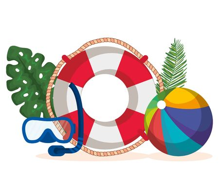 float with snorkel masks and beach ball with leaves plants to summer time vector illustration Illusztráció
