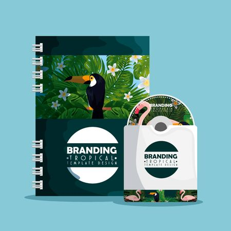 fashion tropical notebook with cd inside envelope vector illustration
