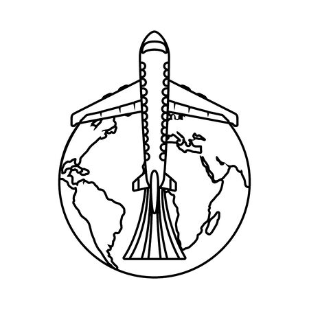 world planet eart with airplane vector illustration design