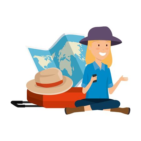 tourist woman with paper map and suitcase and hat vector illustration design