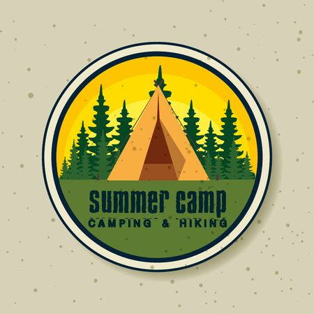 label of camp with pines trees explore to wanderlust adventure vector illustration Illusztráció