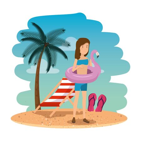 beautiful woman with flemish float on the beach scene vector illustration design