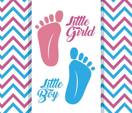 littles girl and boy fooprints poster over geometric lines background vector illustration