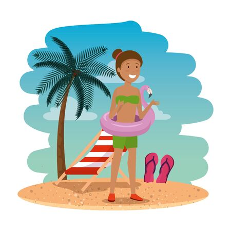 beautiful afro woman with flemish float on the beach scene vector illustration