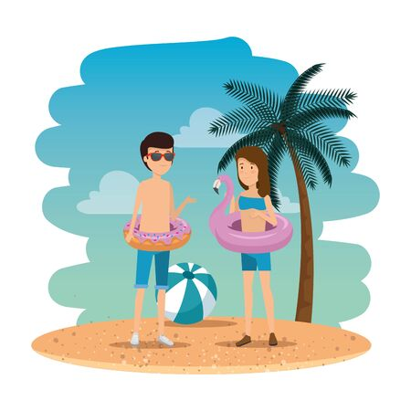 young couple on the summer beach vector illustration design