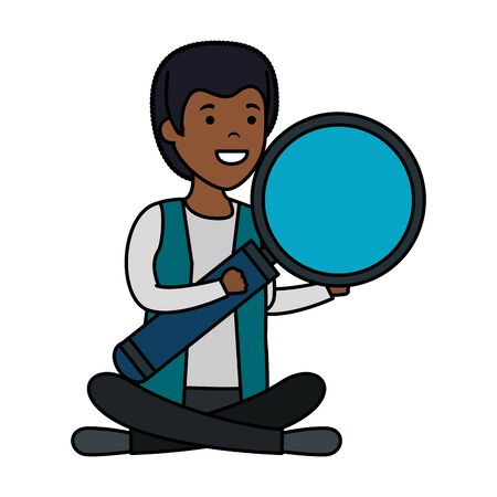 young black man in lotus position with magnifying glass vector illustration design