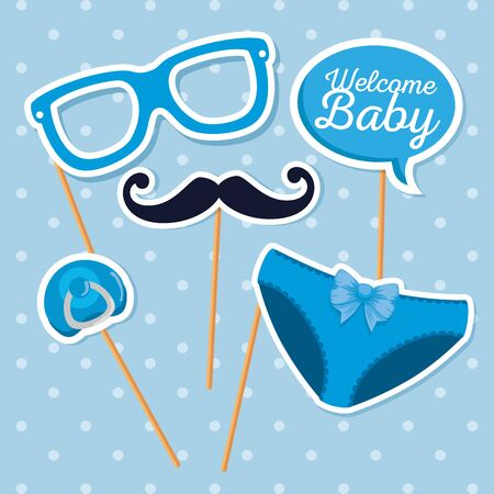 glasses with mustache and chat bubble message to baby shower vector illustration