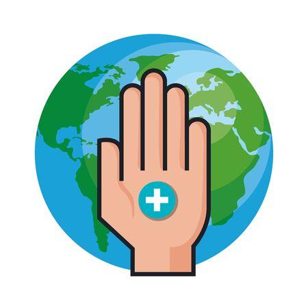 hand with world health day vector illustration design 向量圖像