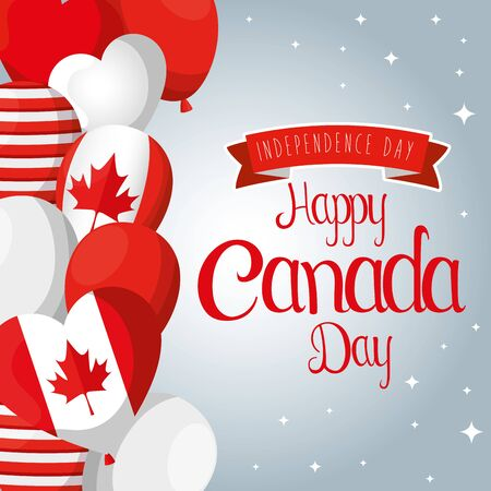 happy canada day with balloons flags decoration vector illustration Illusztráció
