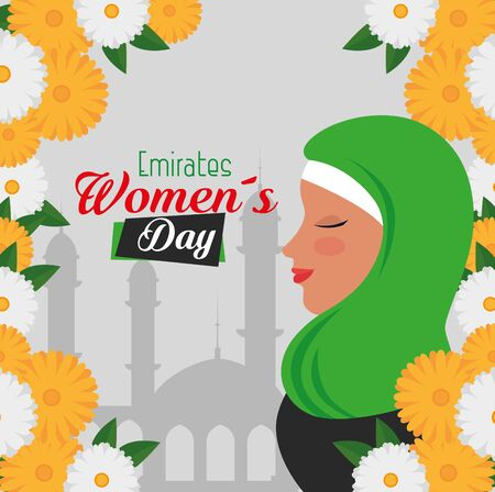 flowers with leaves design and happy woman to emirates womens day, vector illustration