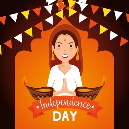 india woman with candles and party banner decoration to independence day vector illustration