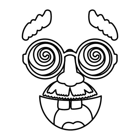 fools day mask glasses and mustache with smile vector illustration design 向量圖像