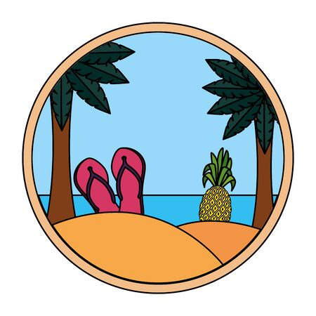 summer beach seascape with flip flops and pineapple fruit vector illustration design