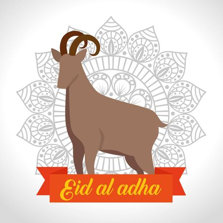 deer sacrifice animal with mandala flower and ribbon to eid al adha, vector illustration