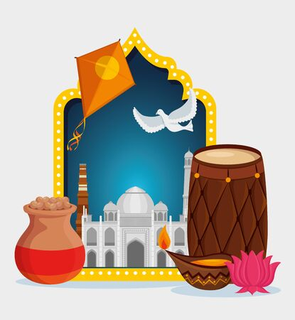 kites with taj mahal and barrel with flower and candle to independence day vector illustration