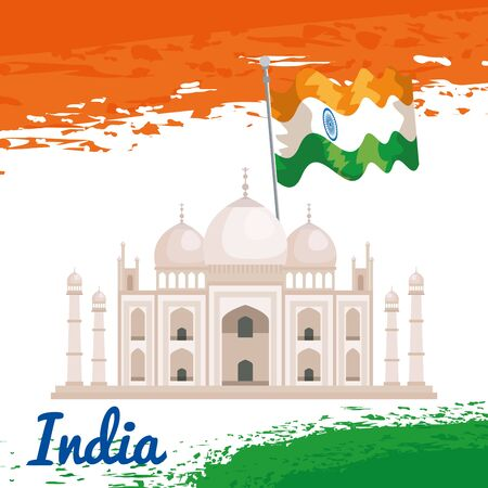 taj mahal with india flag patriotism to independence day vector illustration