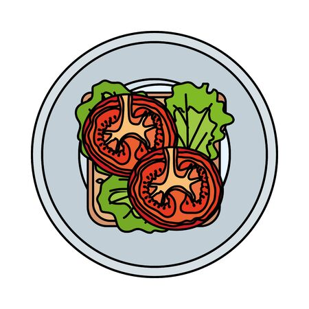 dish with fresh tomato and lettuce vegetables healthy food vector illustration