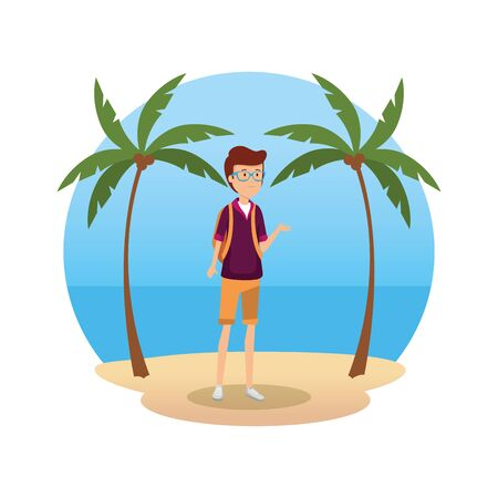 tourist man with travelbag character vector illustration design
