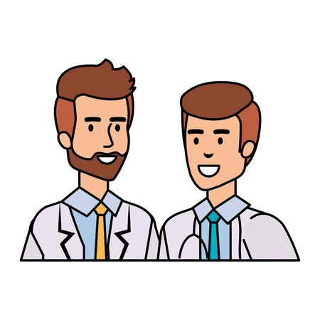 professionals doctors avatars characters vector illustration design Çizim