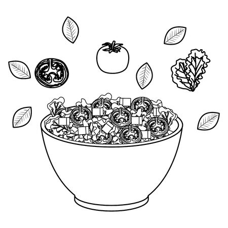 ceramic bowl with vegetables salad splash vector illustration design Ilustrace