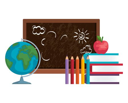 school chalkboard with world map and supplies vector illustration design