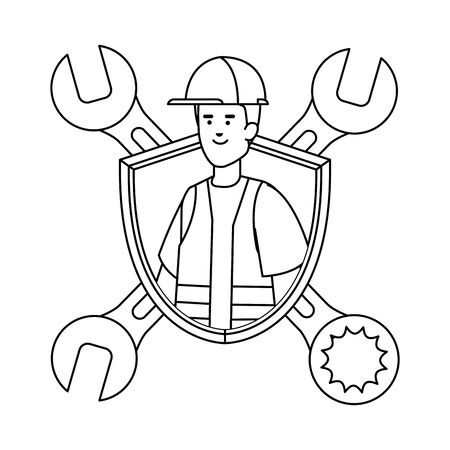 builder worker with helmet and wrenches in shield vector illustration design Иллюстрация