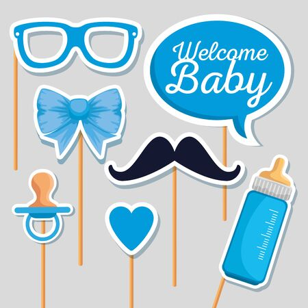 chat bubble message with feeding bottle and pacifier to baby shower vector illustration