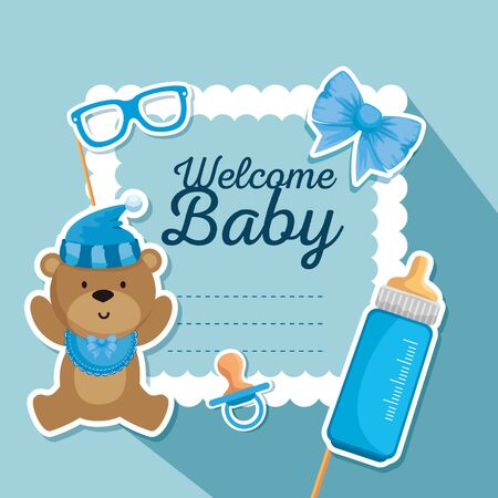 card of bear with feeding bottle and pacifier decoration to baby shower vector illustration
