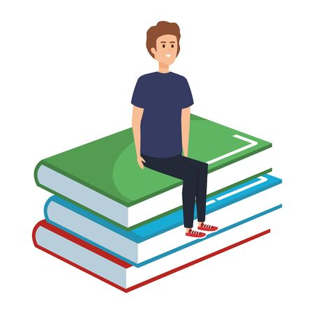 young teacher male sitting in books character vector illustration design Foto de archivo - 129825379