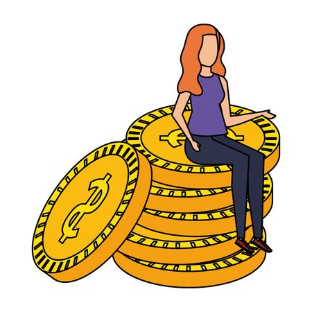 young woman seated in coins cash money dollars vector illustration design Illustration