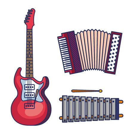 set of electric guitar with accordeon and marimba instruments over white background vector illustration Stock Vector - 129815379