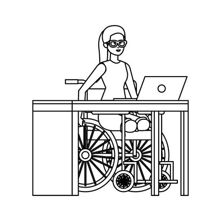 young woman in wheelchair working in the office vector illustration design