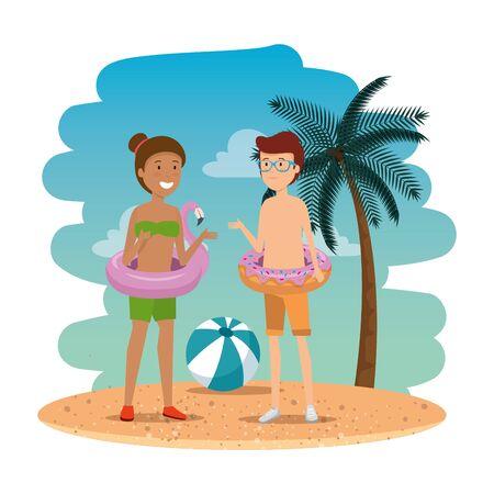 young interracial couple on the summer beach vector illustration design