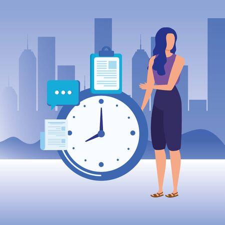 young woman with time clock vector illustration design Ilustração