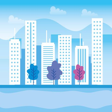 urban buildings with trees and mountains with clouds to cityscape design, vector illustration