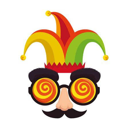 fools day mask glasses and mustache with joker hat vector illustration design 向量圖像