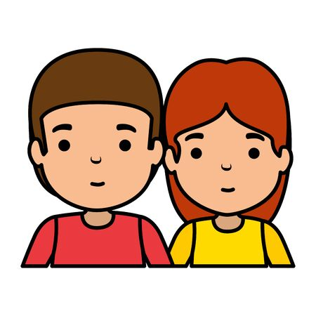 young couple avatars characters vector illustration design Иллюстрация