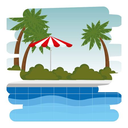 pool with umbrella scene icon vector illustration design