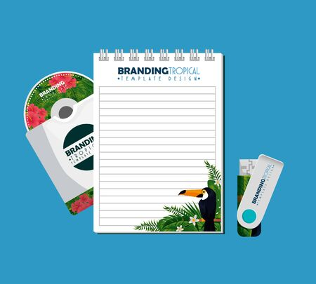 notebook with usb memory and cd envelope with tropical design vector illustration Stock Illustratie