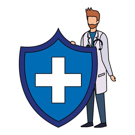 doctor with stethoscope and health shield vector illustration design