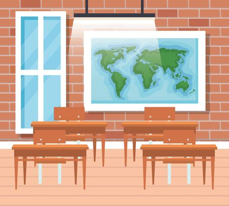 global map with desks and window in the classroom to back to school vector illustration Ilustracja