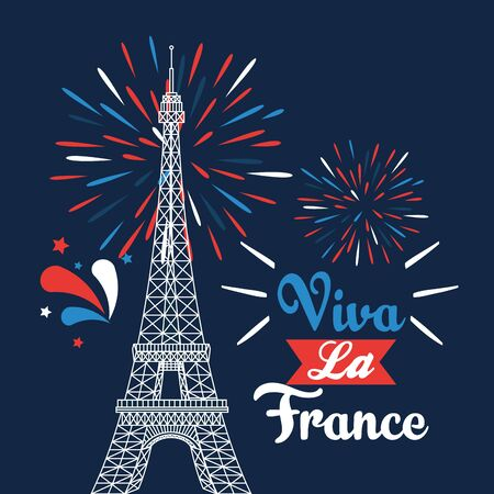 eiffel tower with ribbon and fireworks deccoration to bastille celebration vector illustration